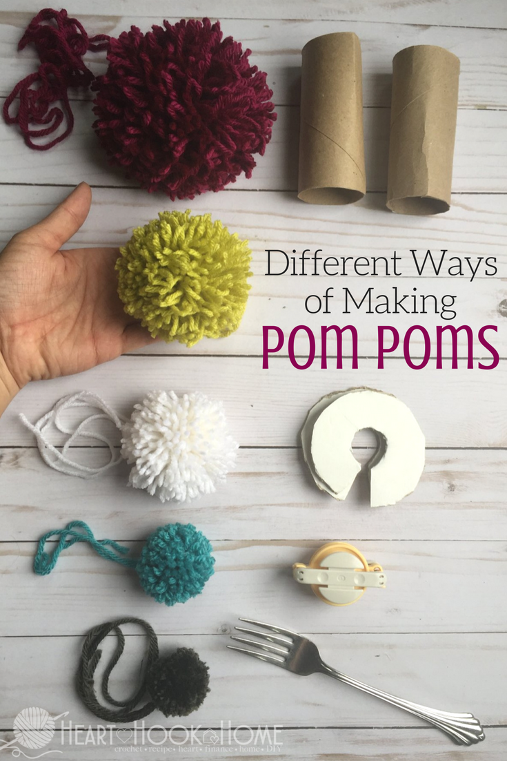 Different Methods of Making Pom Poms hearthookhome.com...