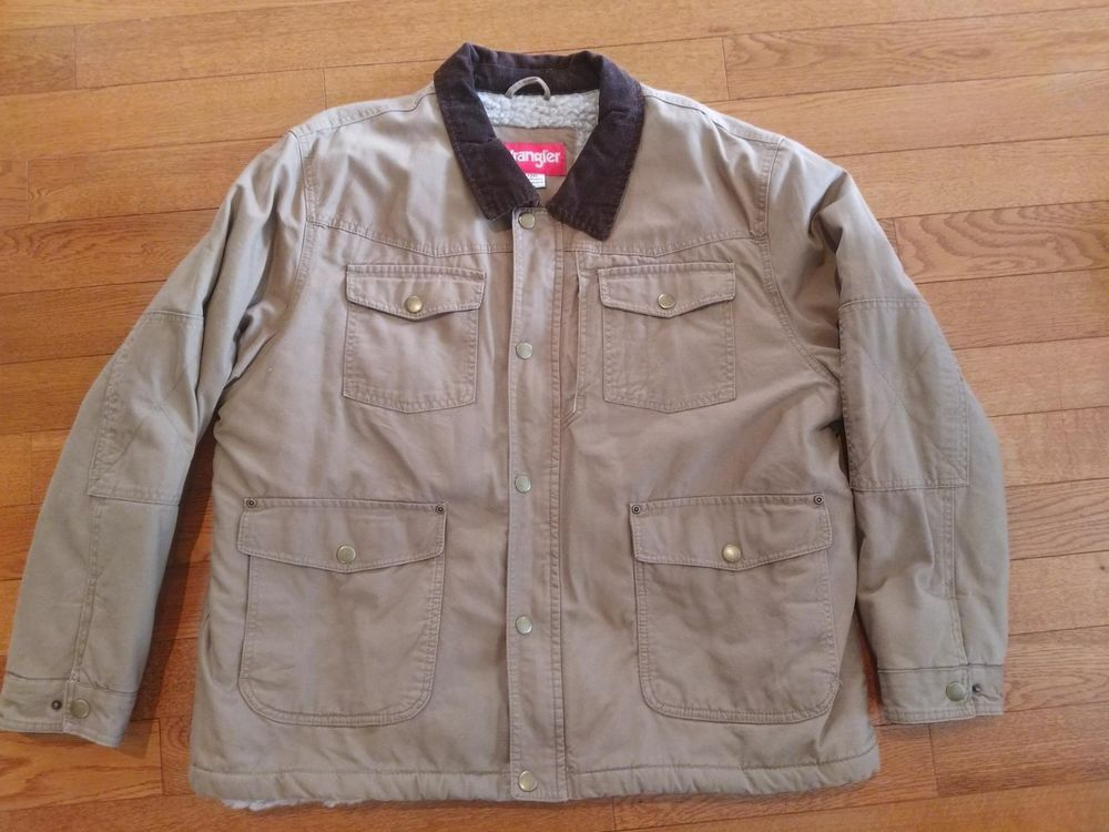 Wrangler Rn15101 Sherpa Lined 100 Cotton Khaki Denim Mens 2xl