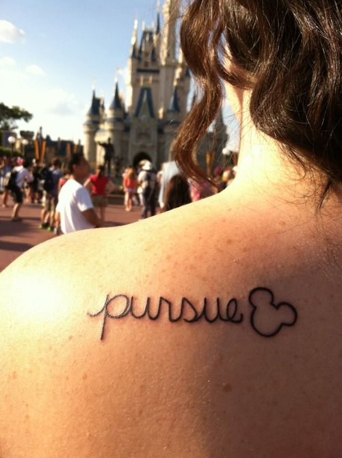 """disneyink:  Had this done the day of my Disney College Program graduation. It's based on the quote of Walt Disney's that """"All our dreams can come true if we have the courage to pursue them"""". It's a personal reminder to me of what commitment I had to my dream of completing my college program, and to keep putting all of that effort into whatever else I want to pursue in life! Done by Kurtis at Atomic Tattoos in Orlando, FL."""
