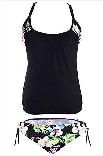 Christmas DHMS Dress Womens Black LayeredStyle Floral Tankini with Triangular Briefs XXXL *** More info could be found at the image url.
