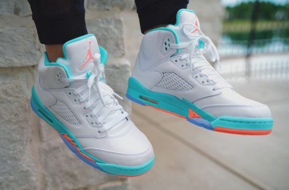d4624225cb1b72 Air Jordan 5 GS Light Aqua Releasing Next Weekend The Air Jordan 5 Light  Aqua theme