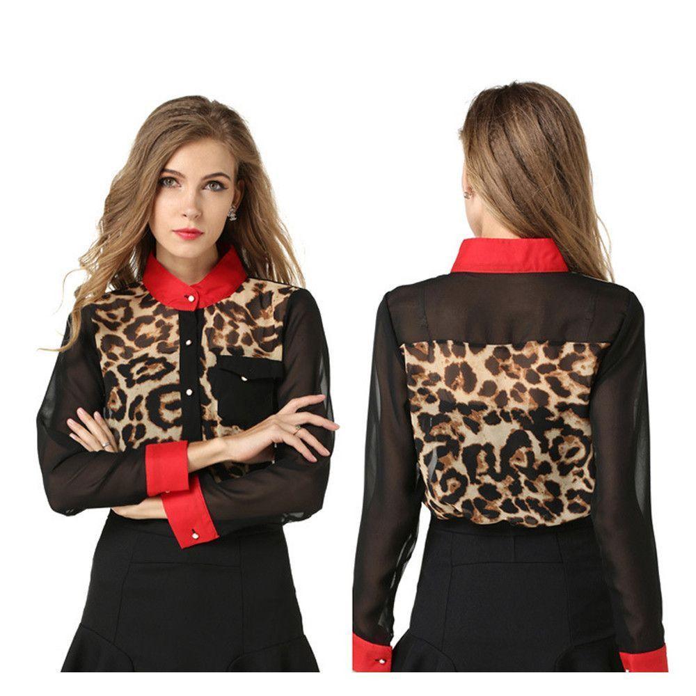 Casual Chiffon Ventilate Shirts Leopard Printed Blouse Long Sleeve Shirt Tops