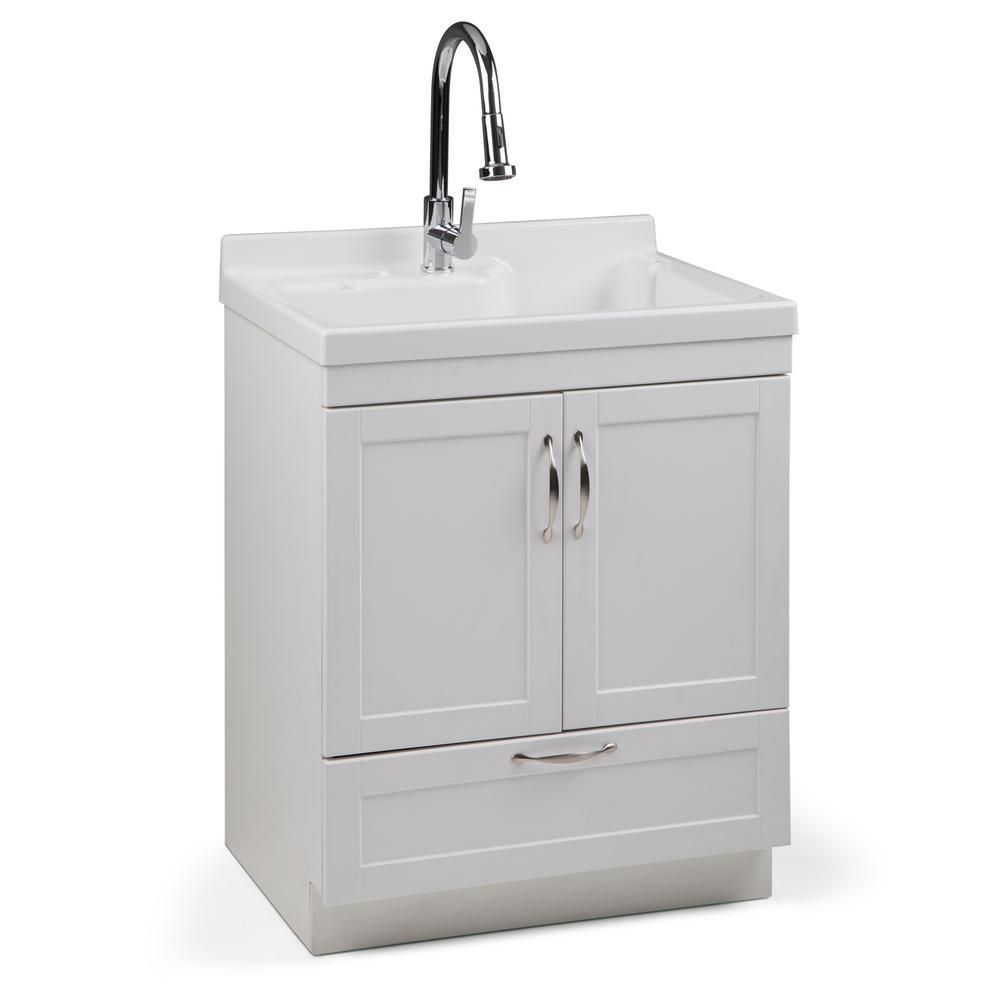 Simpli Home Maile 28 In W X 22 In D In X 36 In H Laundry Cabinet With Pull Out Faucet And Abs Laundry Utility Sink Axcldymai 28 In 2020 Laundry Cabinets Simpli Home Laundry Sink