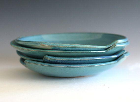 4 Handmade Ceramic Plates pottery plates handthrown by ocpottery