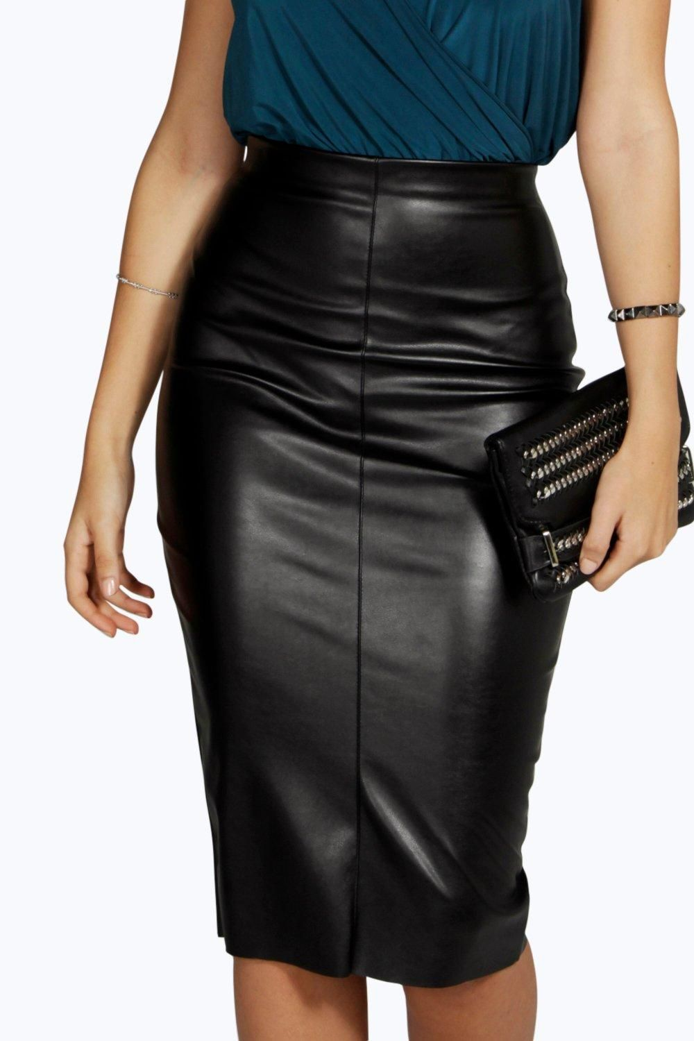 Black Leather Look Midi Skirt - Dress Ala