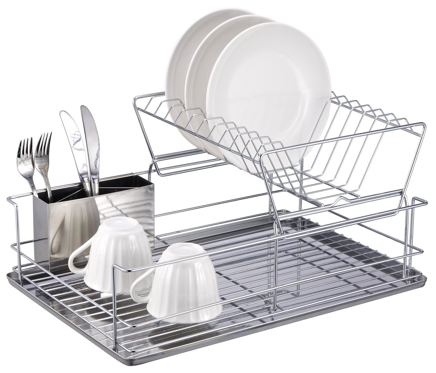 Amazon.com - Home Basics 2-Tier Dish Rack - Draining Dish Rack 17 ...