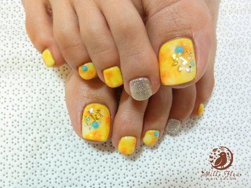 Teal Yellow Pedicure Toe Nail Art Toe Nails Toe Nail Designs