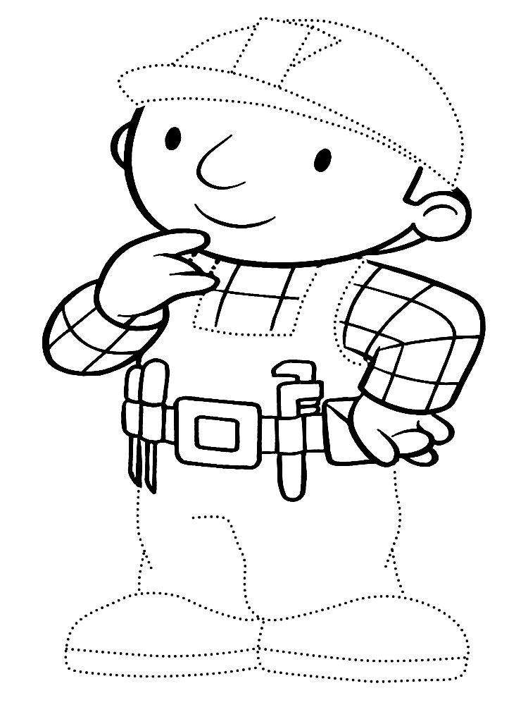 Детские раскраски Боб строитель. Обведи контур по точкам и ...