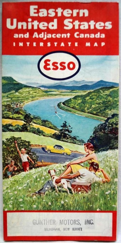 Esso Oil Service Station Eastern Usa Highway Road Map - Road map eastern us