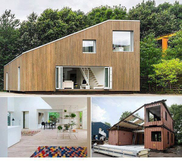 Casa hecha con contenedores y revestida con madera de - Casa hecha de contenedores ...