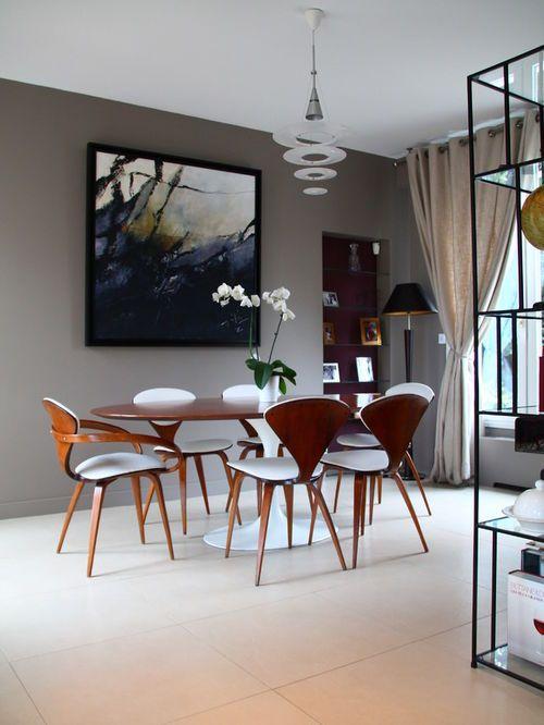 Exemple d\'une salle à manger ouverte sur le salon tendance de taille ...