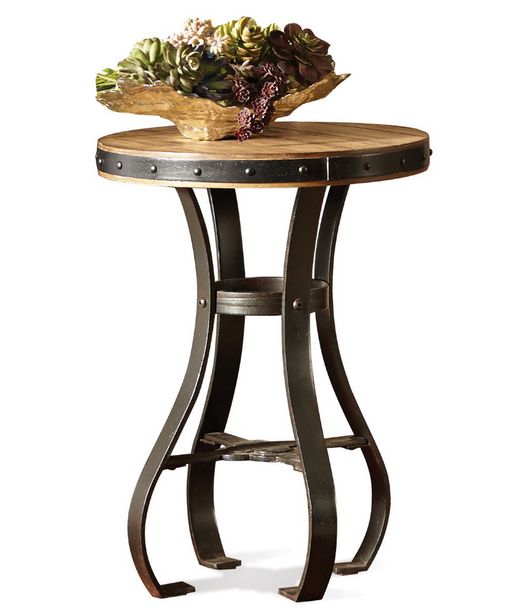 Rustic Small Round End Table Boasts Inspired Design With Flowing Metal Frame And Top Crafted Of Ash Veneer Wood Planks 18 Or 26 Diam