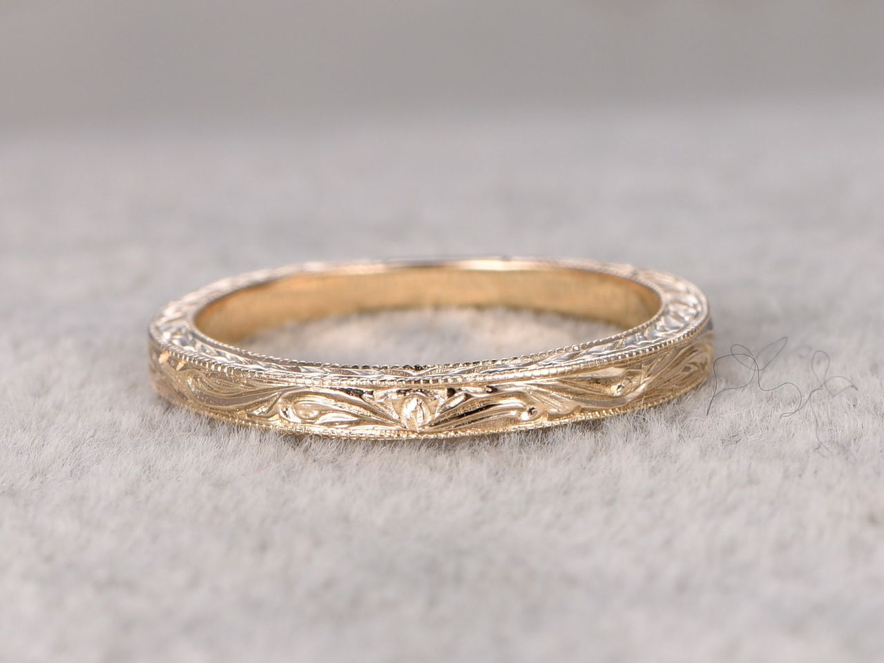 Antique Wedding Band Solid 14k Yellow Gold Filigree Flower Annivesary Ring Antique Wedding Rings Antique Wedding Bands Filigree Wedding Band