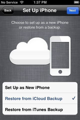 Icloud Backup Restore From Backup Icloud New Iphone Iphone