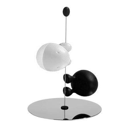 """Black /& White Alessi /""""Lilliput/"""" Magnetic Salt /& Pepper Shaker Set"""