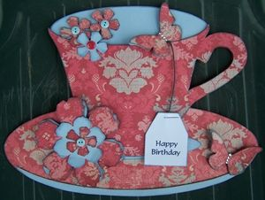 Tea cup & saucer fun shaped birthday card. Ideal for tea drinker, tim holtz tattered floral die