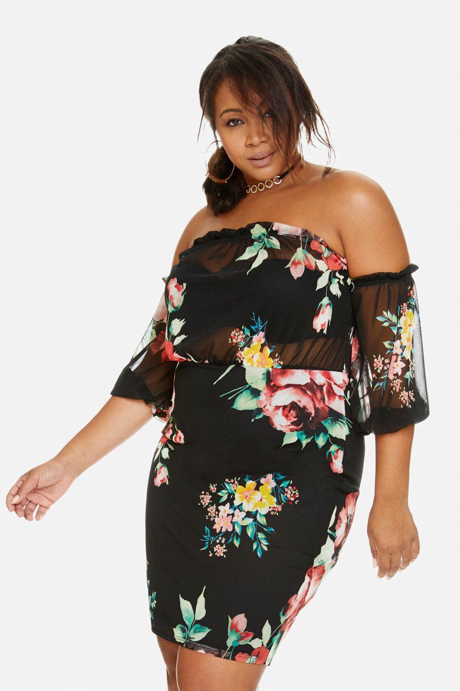 Plus Size Off Shoulder Floral Mesh Dress Plus Size Pretty Pants