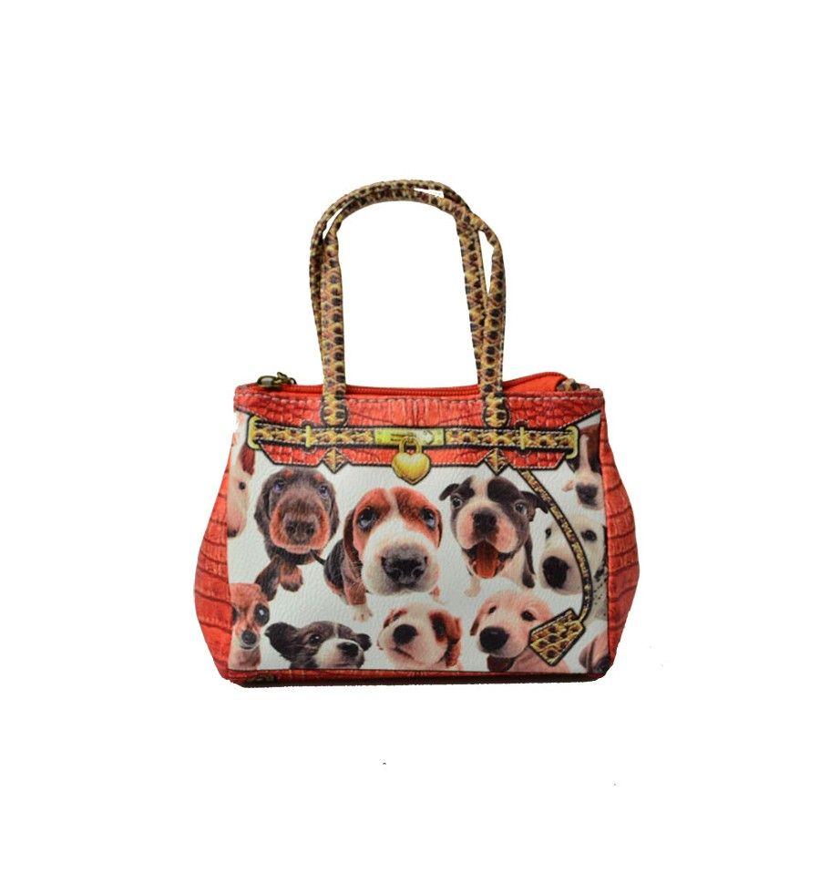 Sød lille micro taske med små hunde hoveder på, i flotte orange farver