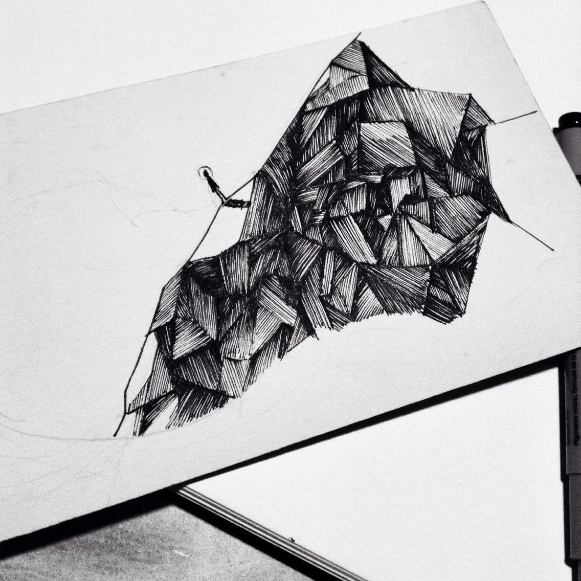 work in progress photo cross hatching pen ink sketch fish and