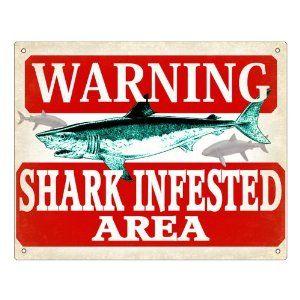 Fishing Shark Sign warning funny plaque for fish Tank