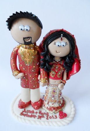 Beautiful Personalised Indian Asian Wedding Cake Toppers Made To Look Like You I