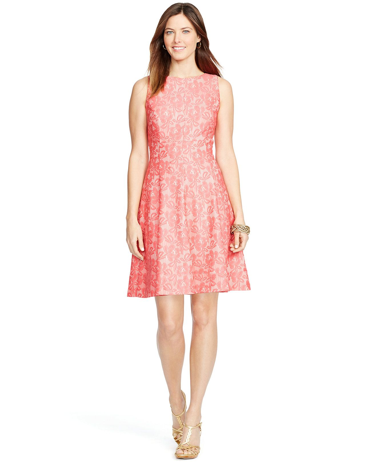 American Living Sleeveless Lace Dress - Dresses - Women - Macy\'s ...