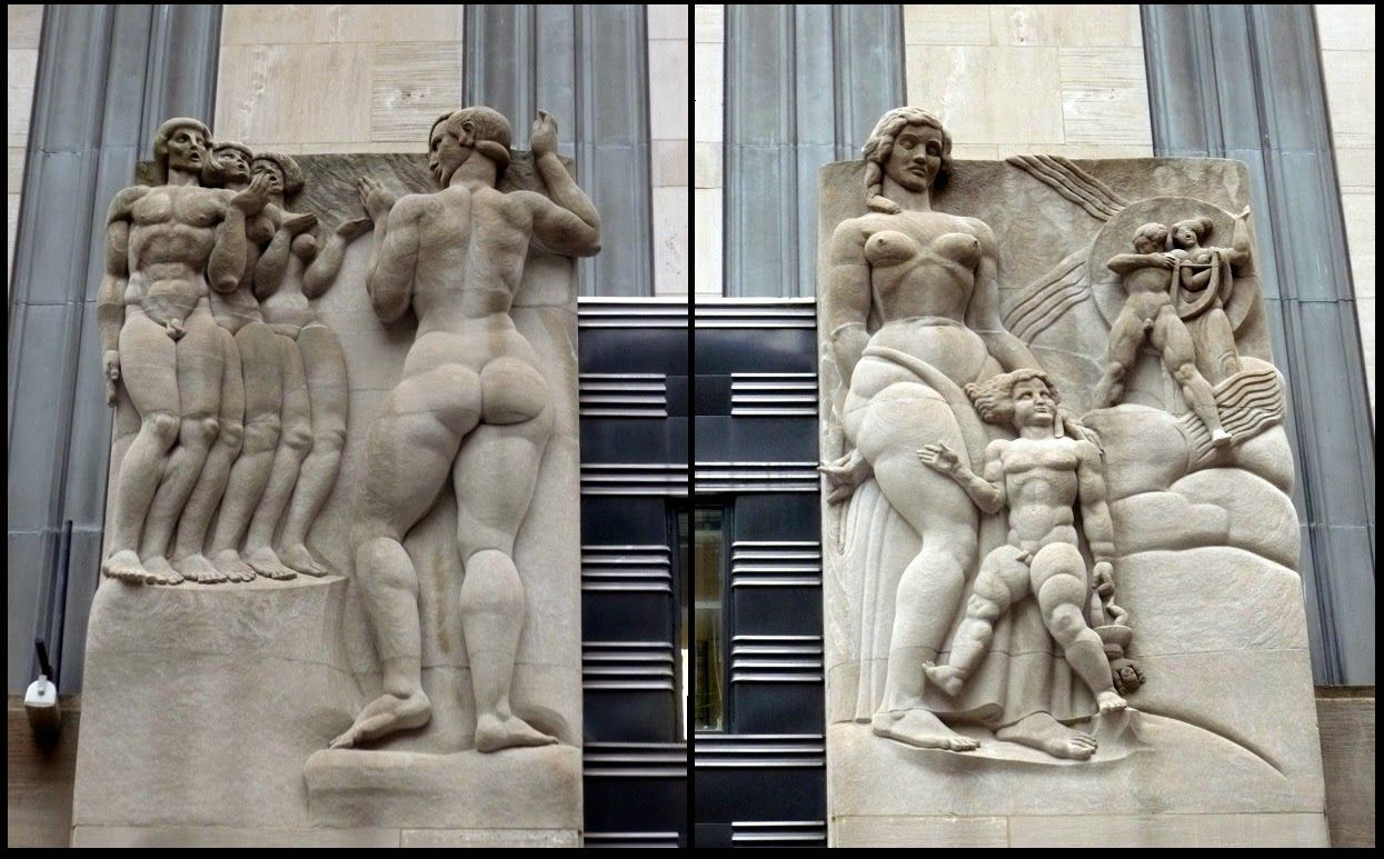Art Deco Bas-Relief Sculptures: Radio by Leo Friedlander- 50th Street Entrance to 30 Rockefeller Plaza, Rockefeller Center, NY, NY