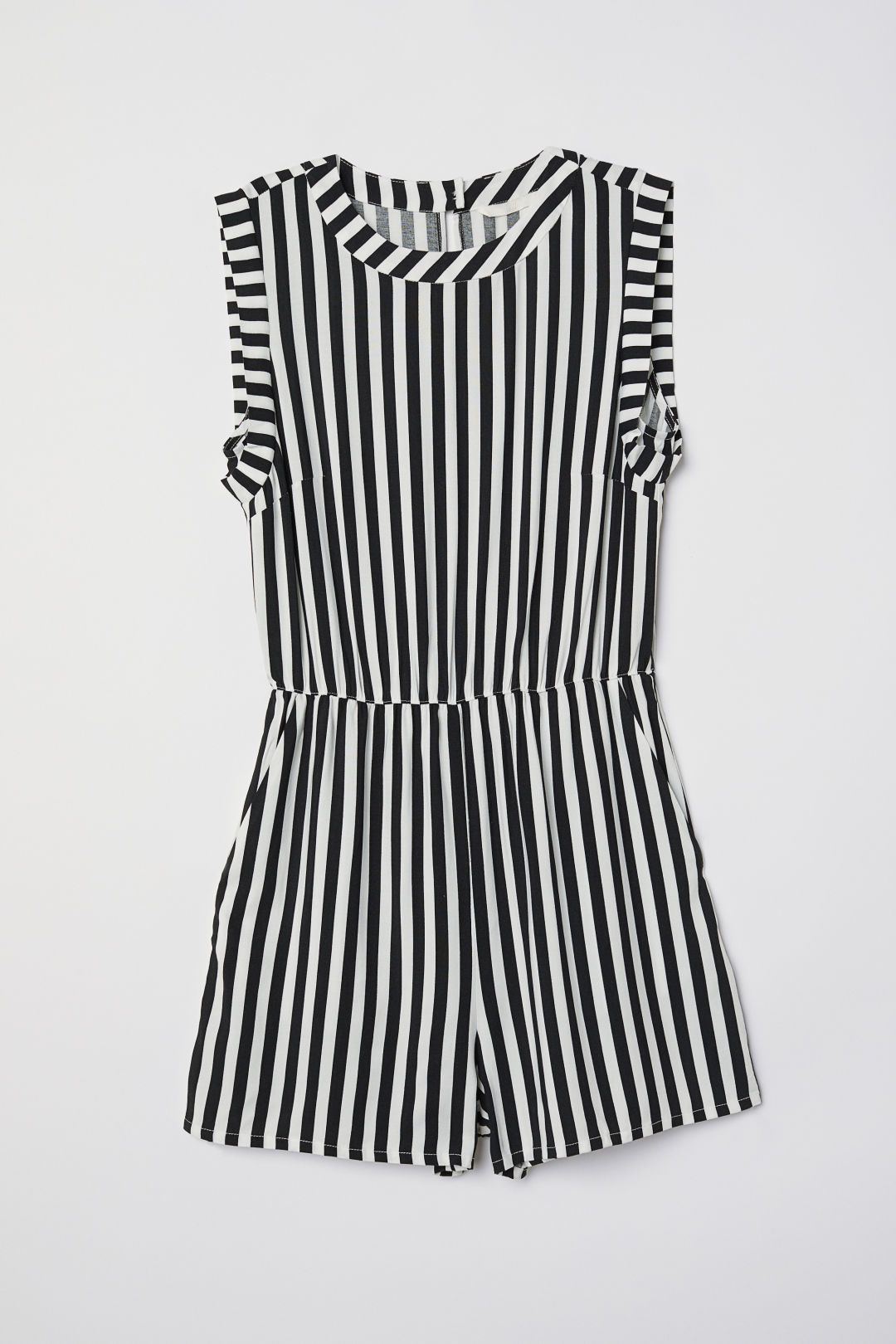 6d7b5b4b7cb0 Sleeveless Jumpsuit - White black striped -
