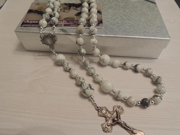 White Howlite Rosary Beads - Anne Gale Jewels