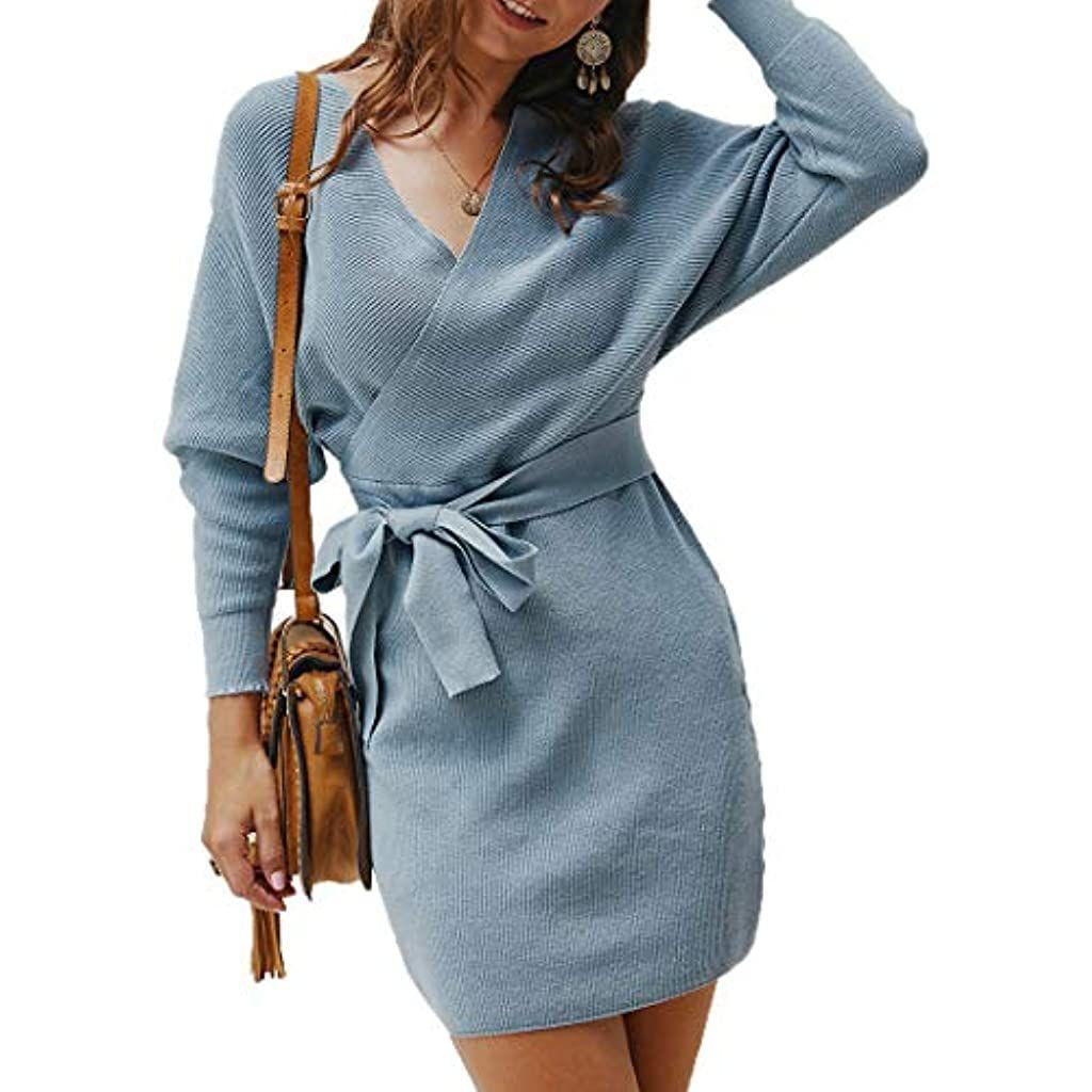 dencalleus winter herbst damen elegant pulloverkleid lange