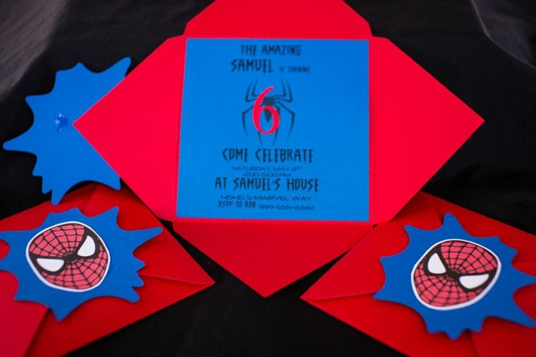 Photo of spiderman theme of children's birthday party invitations for both the envelope and the …