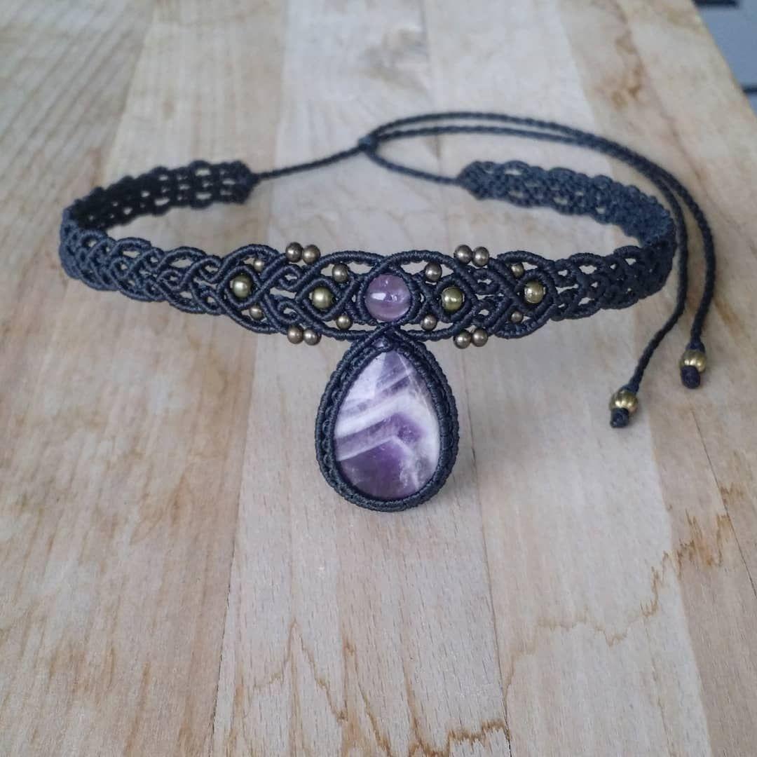 Aura Quartz Macrame Bracelet with Amethyst Gemstone Beads witchy Jewelry