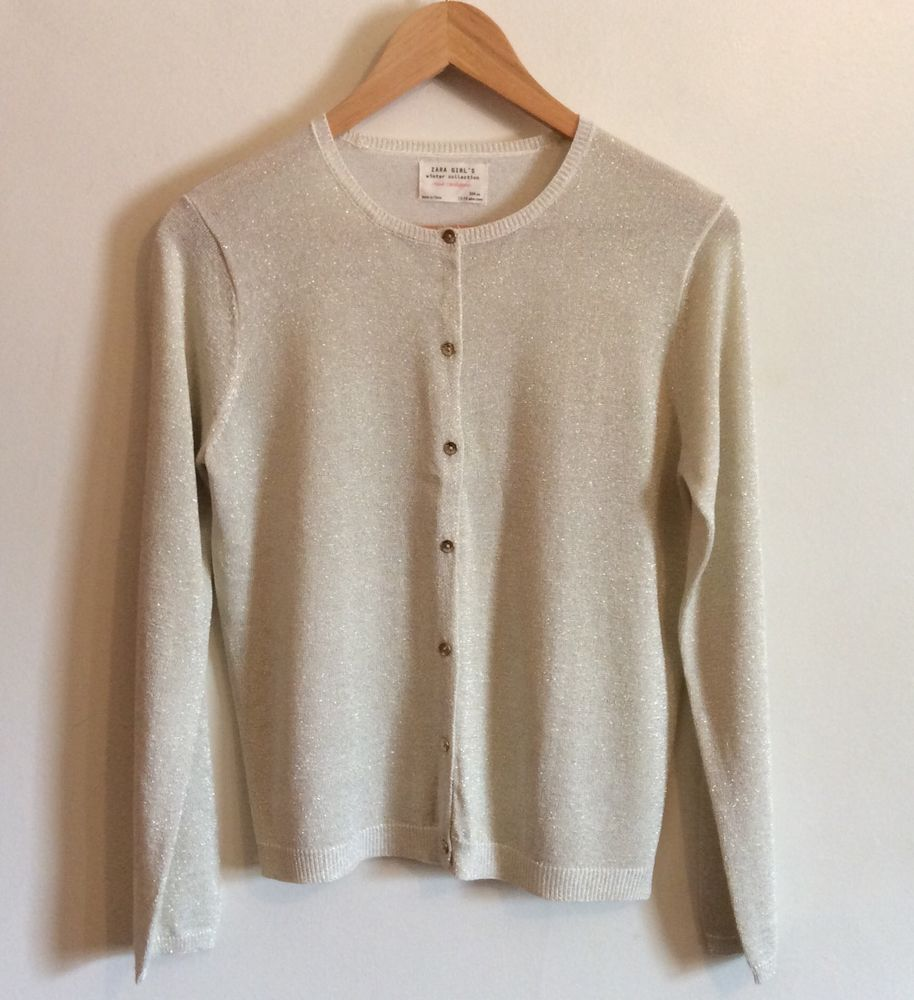 ZARA GIRL'S Sweater Size S 13-14 Long Sleeve Button Down Sparkle ...