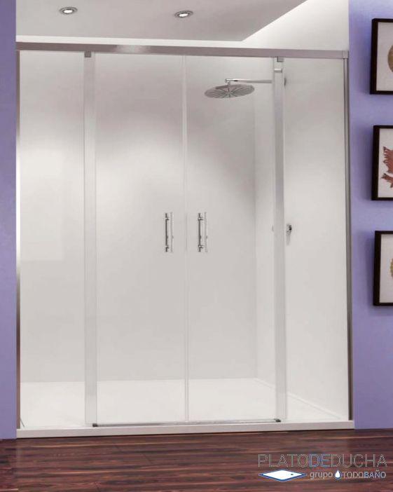 mampara frontal doble de acero inoxidable con dos puertas correderas y cristal templado de