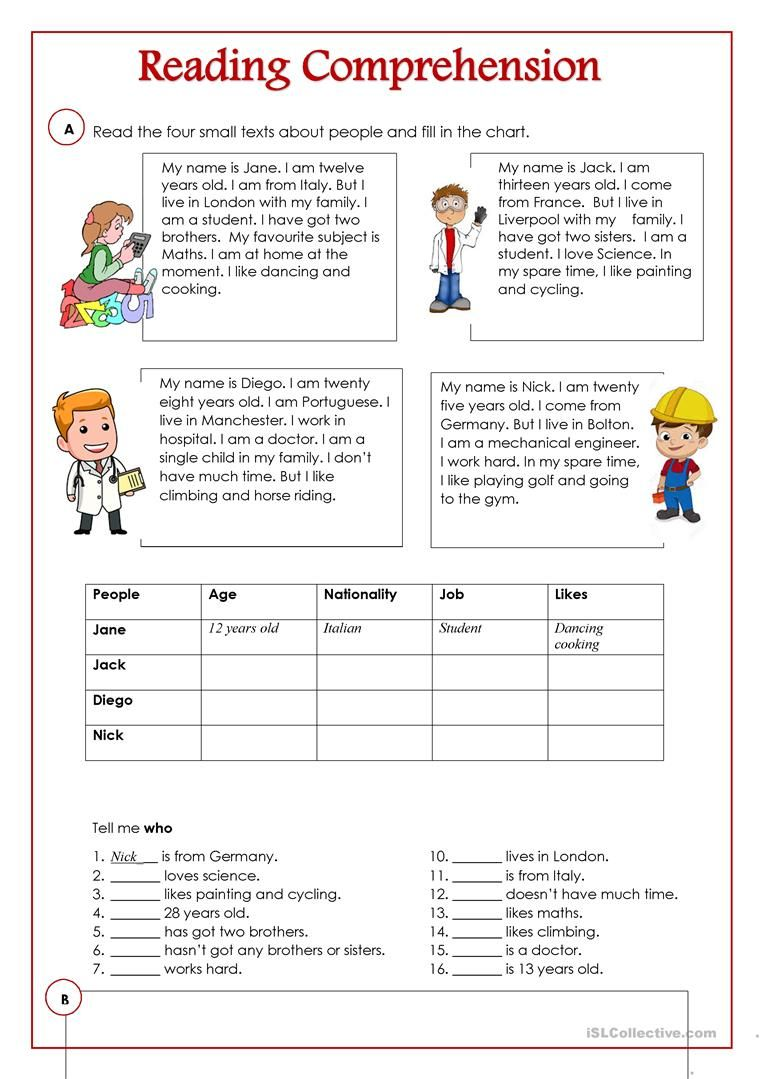 An activity to practice reading and comprehension. There