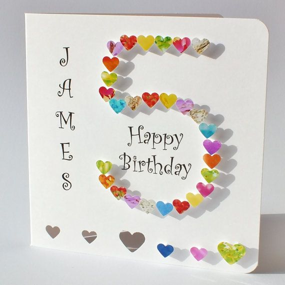 5th Birthday Card Age 5 Card Colourful Customised Handmade