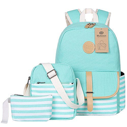 Womens Large Backpack Canvas Ladies Girls School Backpack Rabbit Turquoise