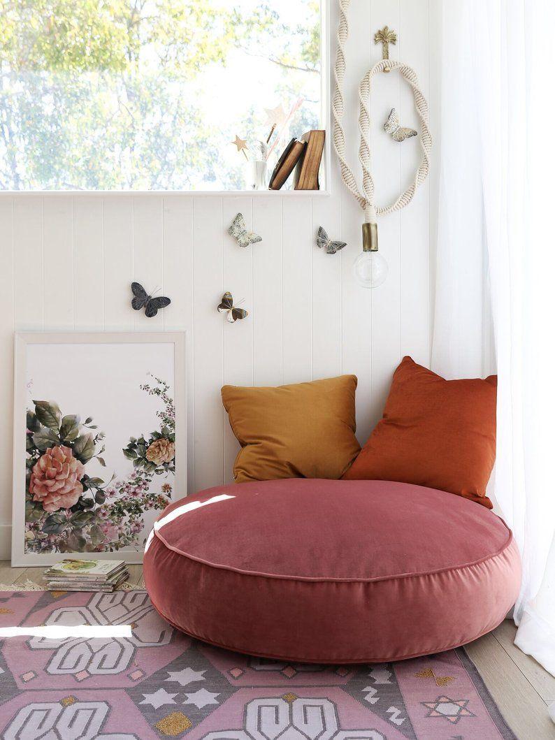 Velvet Round Floor Pouf 16 Stunning Colours Available Inc Gst En 2020 Deco Maison