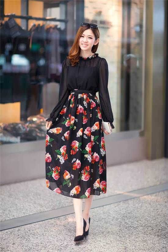 Women's Sexy Black O-Neck Patchwork Chiffon Mid-Calf Long Sleeve Pleated Dress - 374441L06