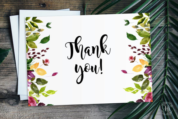 Thank You Card Beautiful Watercolor Printable Thank You Card