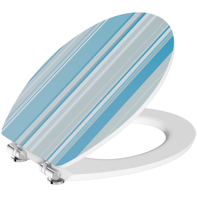 Phenomenal Blue Stripe Acrylic Toilet Seat With Soft Close Quick Gamerscity Chair Design For Home Gamerscityorg