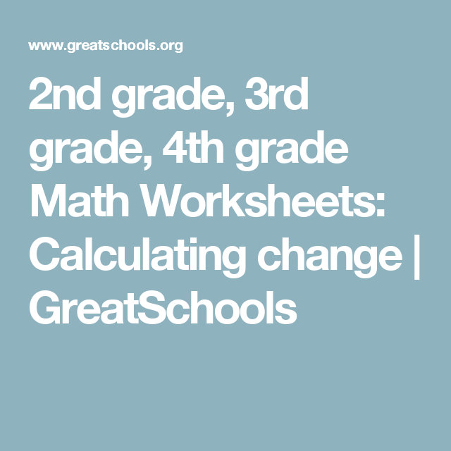 2nd grade, 3rd grade, 4th grade Math Worksheets: Calculating change ...