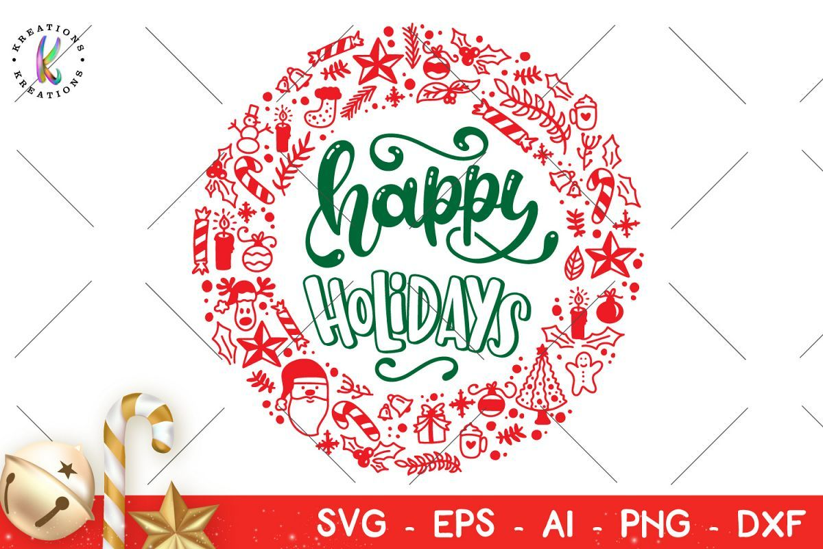 Happy Holidays svg Christmas Elements circular wreath svg