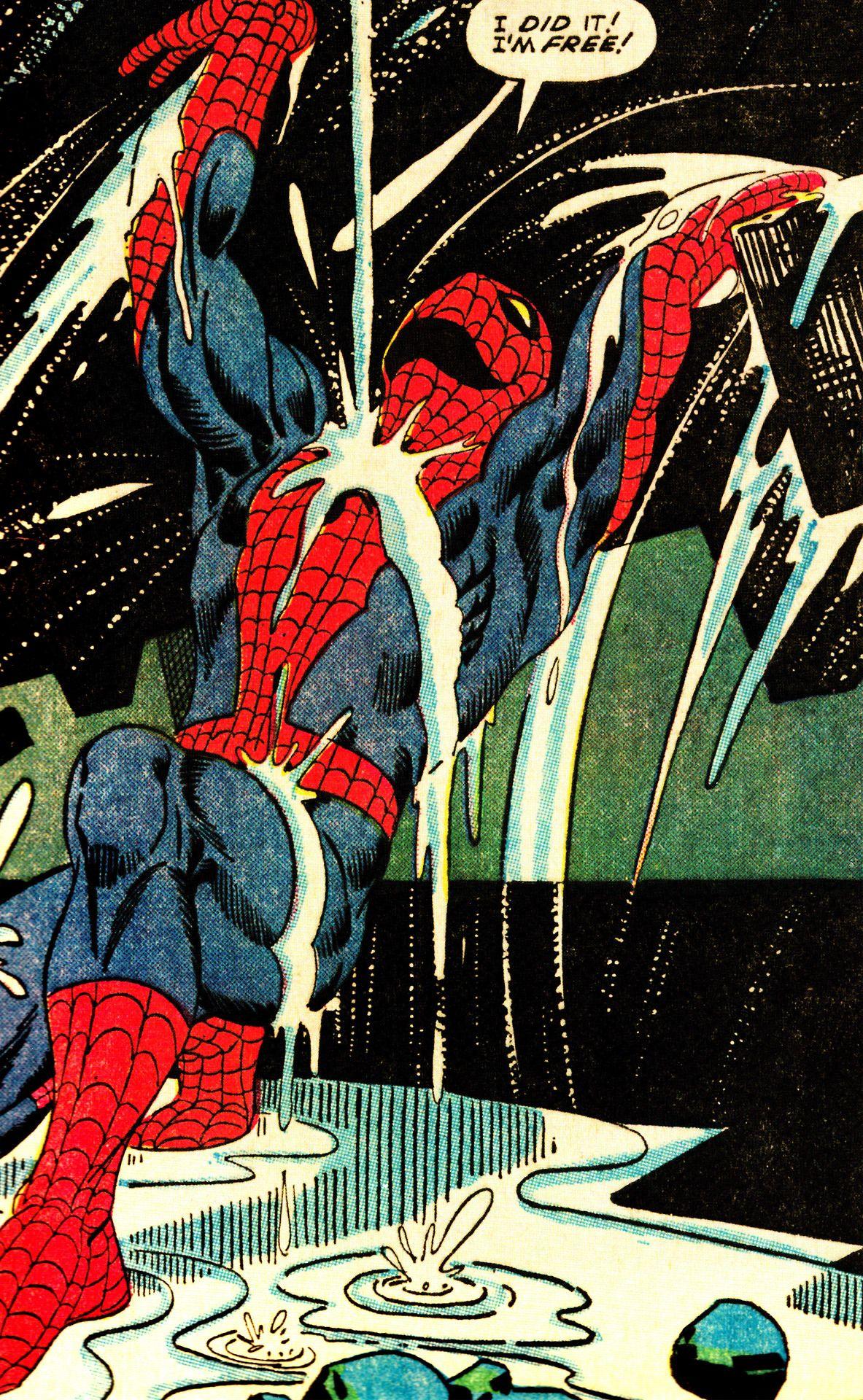 Cena clássica e libertadora do Homem-Aranha em arte de Steve Ditko.