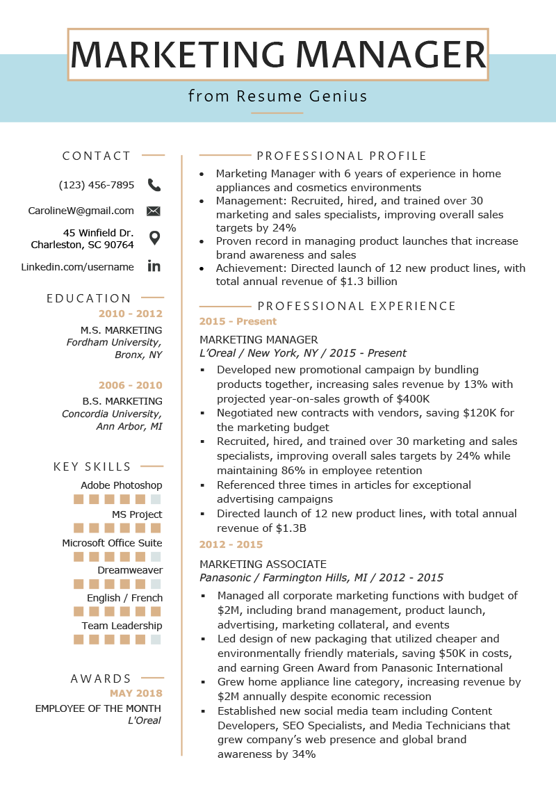 marketing manager resume example  u0026 writing tips