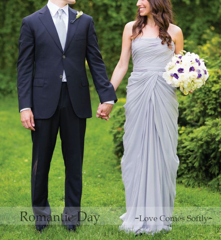 2014 Hot Sale Gray strapless Chiffon wedding by RomanticDay, $89.00