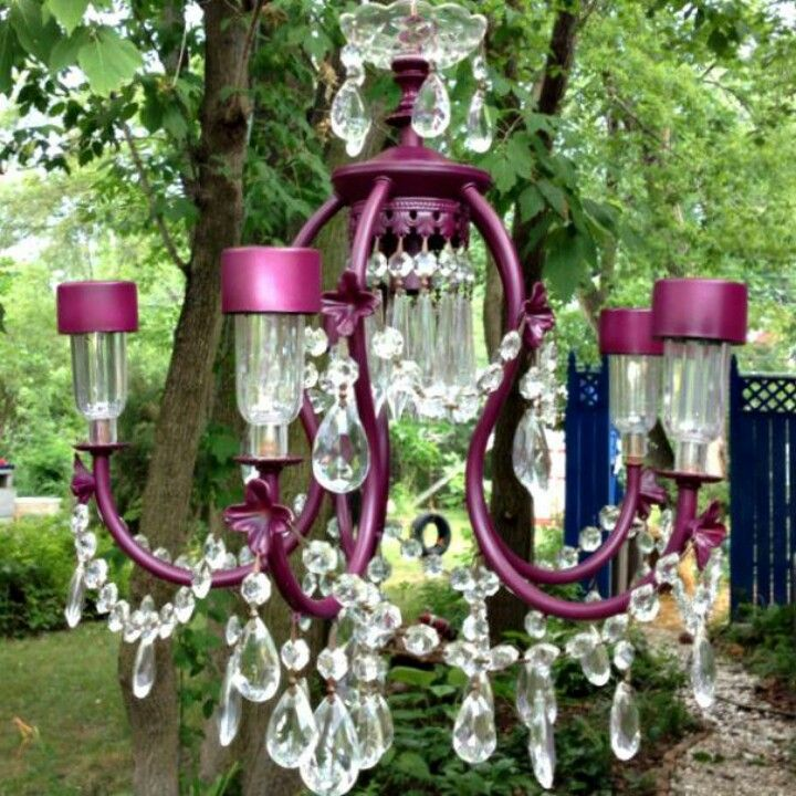 Recycled Chandelier Adding Solar Lights This One Was Made For Me I Have All The Crystal Just Need Diy Garden Decor Outdoor Chandelier Outdoor Solar Lights