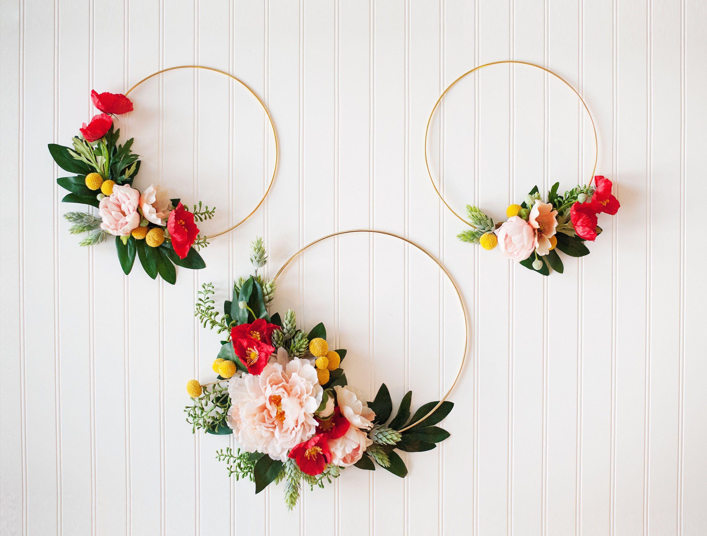 Photo of GARDEN PARTY SERIES: Set of Gold Hoop Wreaths, Nursery Hoop Wreath, Roses, Soft Nursery Chic, Nursery Wreath Set, Floral Boho, Rifle Paper Co