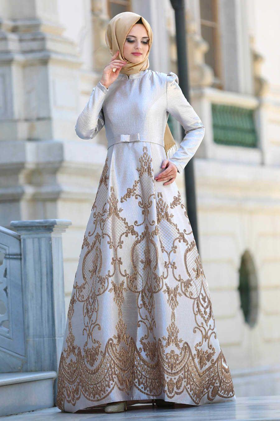 PINTEREST: @MUSKAZJAHAN - Evening Dress - Beige Hijab Dress 8184BEJ ...
