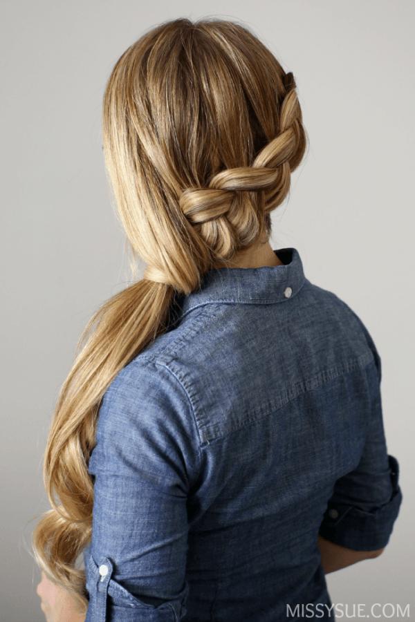 Side-swept Dutch Braid Ponytail